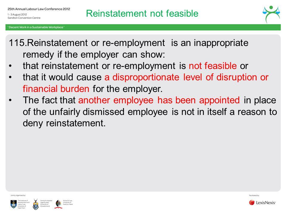 Reinstatement not feasible