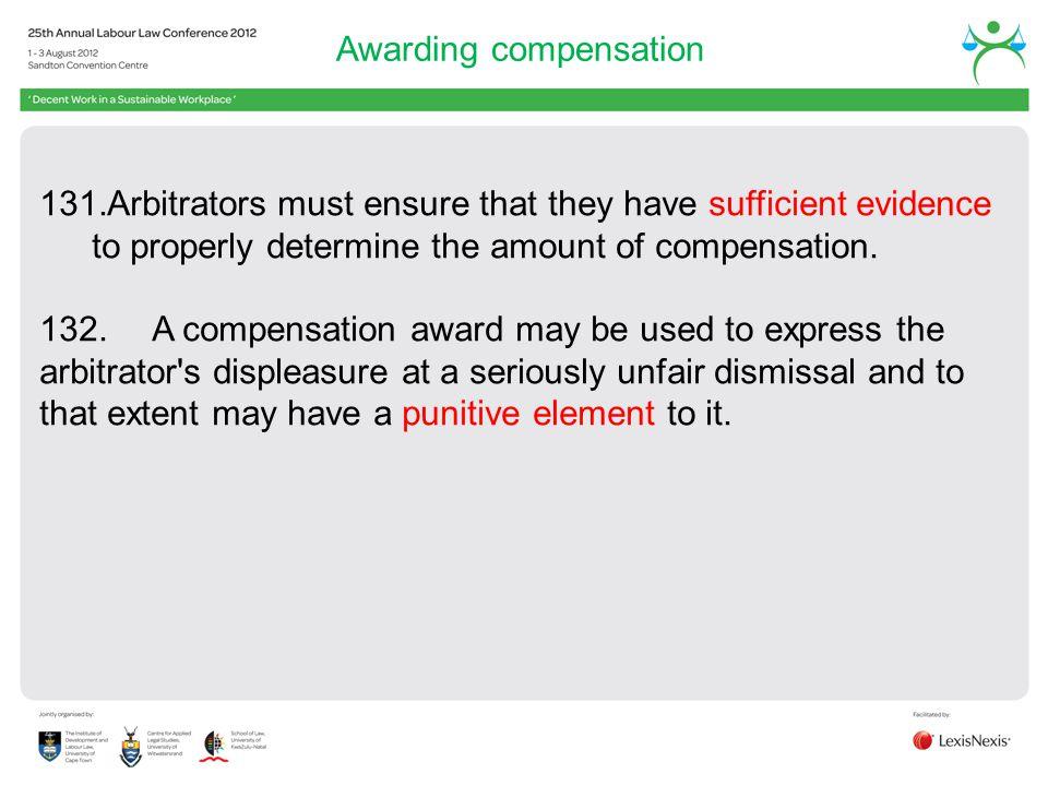Awarding compensation