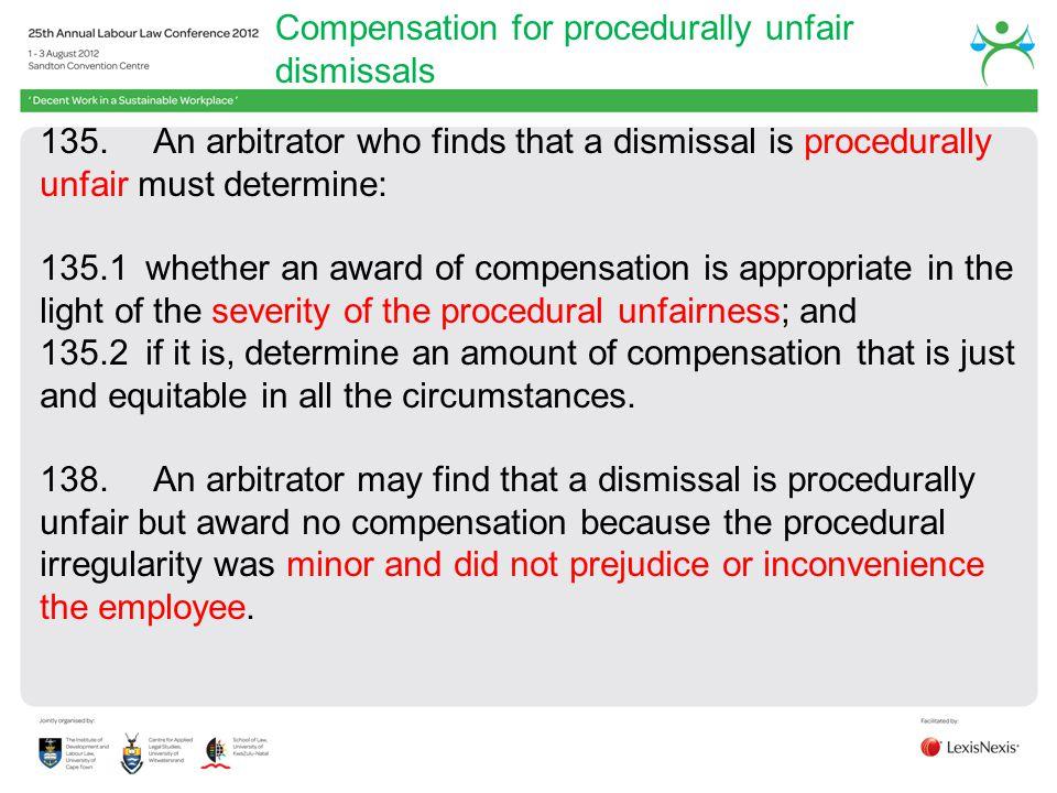 Compensation for procedurally unfair dismissals