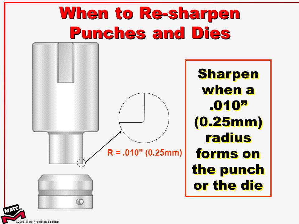 When to Re-sharpen Punches and Dies