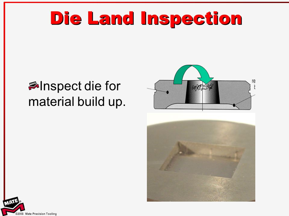 Die Land Inspection Inspect die for material build up.