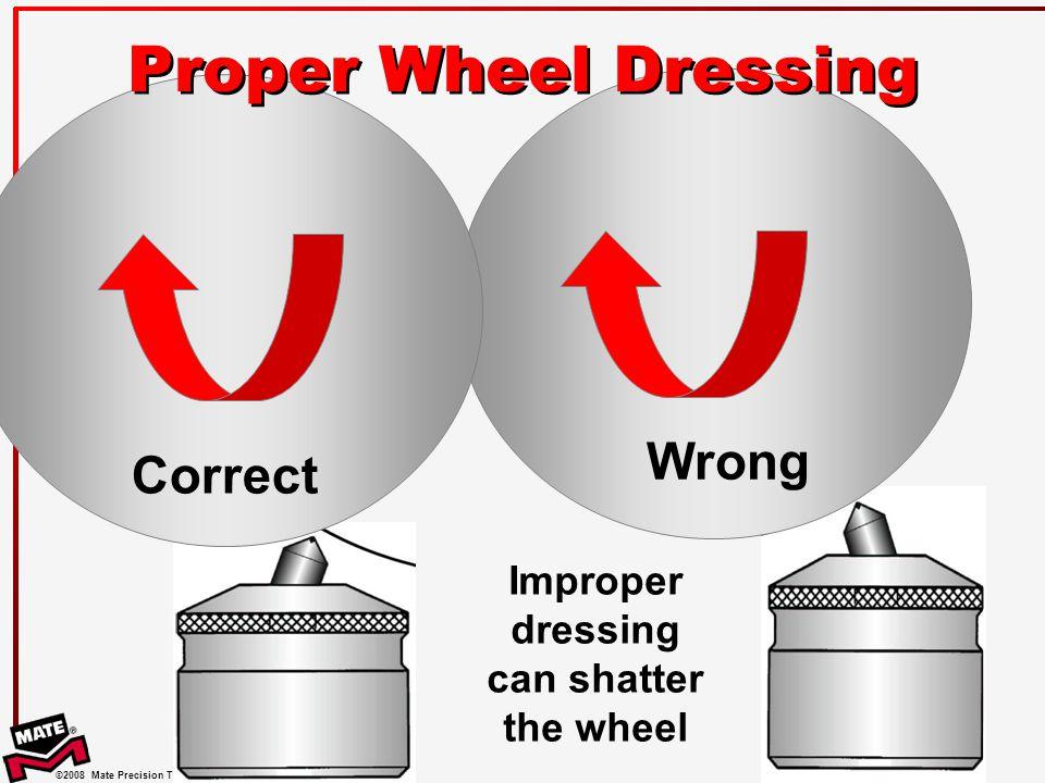 Improper dressing can shatter the wheel