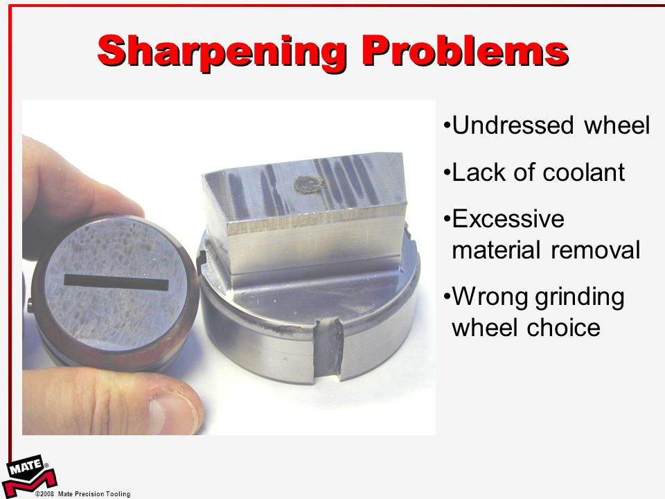Sharpening Problems Undressed wheel Lack of coolant