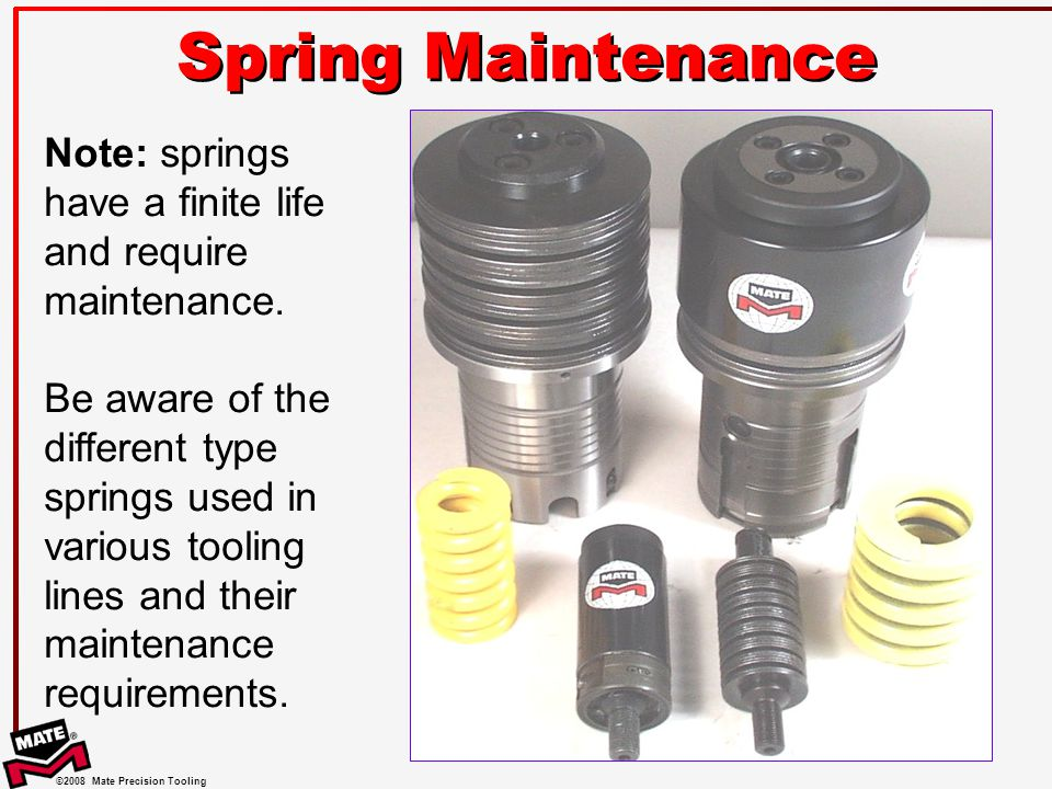 Spring Maintenance Note: springs have a finite life and require maintenance.