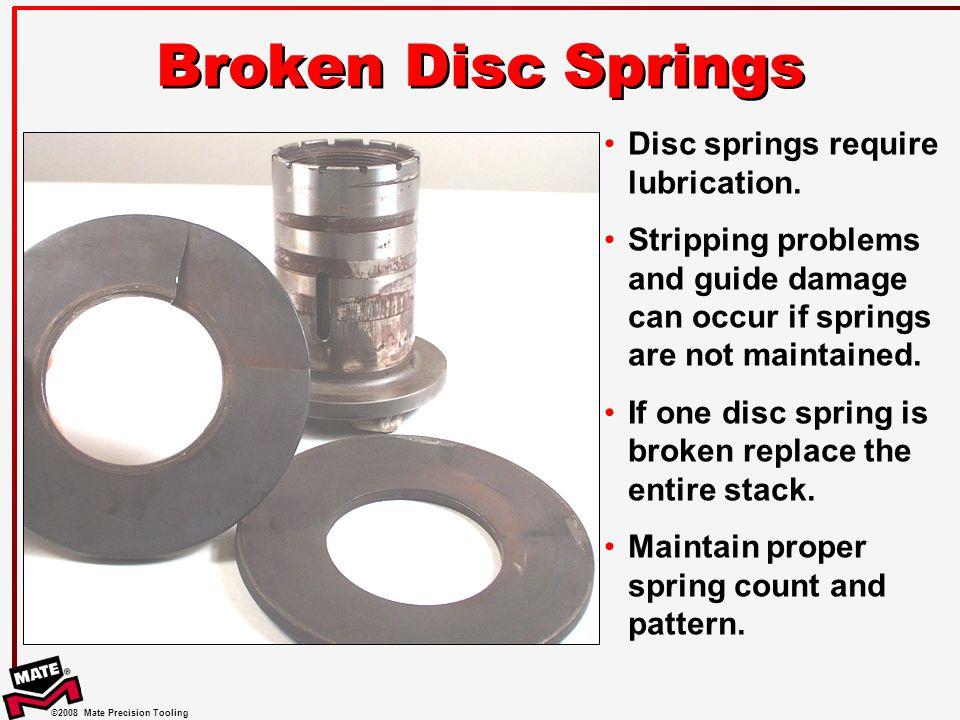 Broken Disc Springs Disc springs require lubrication.