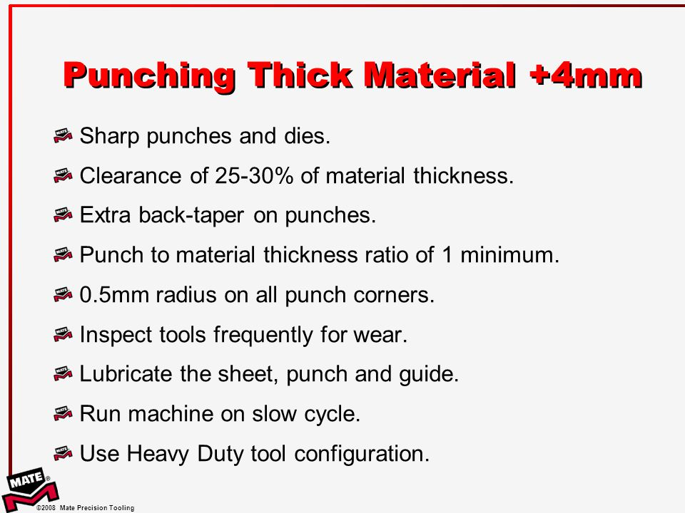 Punching Thick Material +4mm