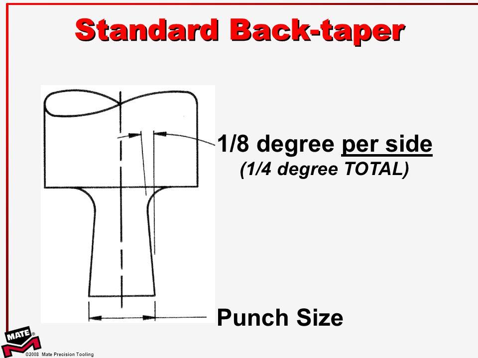 Standard Back-taper 1/8 degree per side (1/4 degree TOTAL) Punch Size
