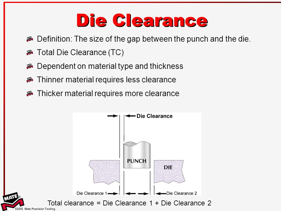 Die Clearance Definition: The size of the gap between the punch and the die. Total Die Clearance (TC)