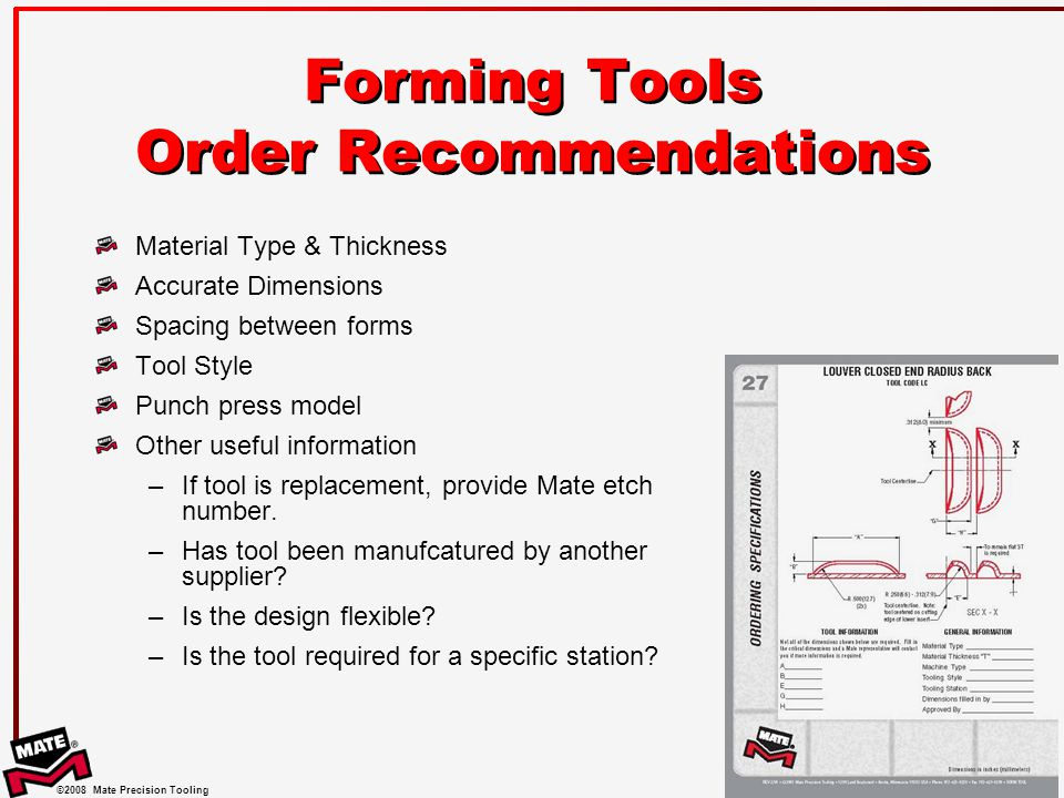 Forming Tools Order Recommendations