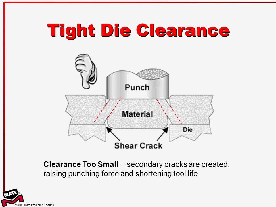 Tight Die Clearance One of the most common problems among punch press tool users is the use of a die clearance that is too small, or too tight.
