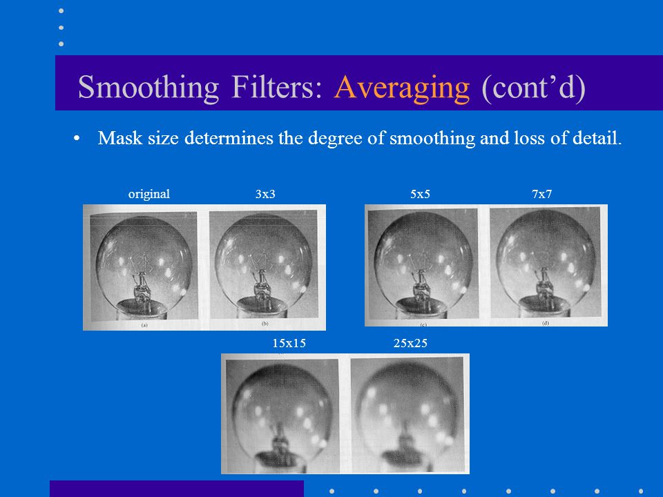 Smoothing Filters: Averaging (cont'd)
