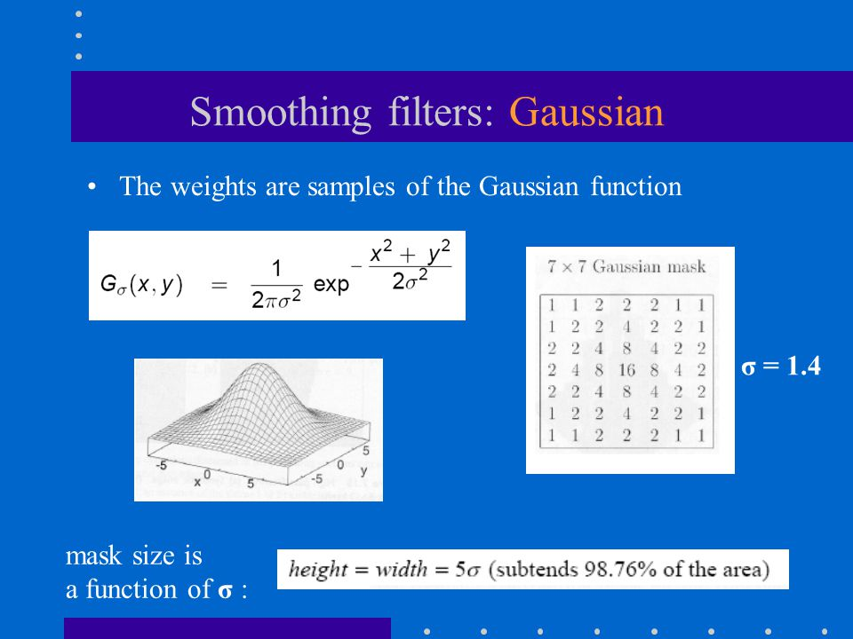 Smoothing filters: Gaussian