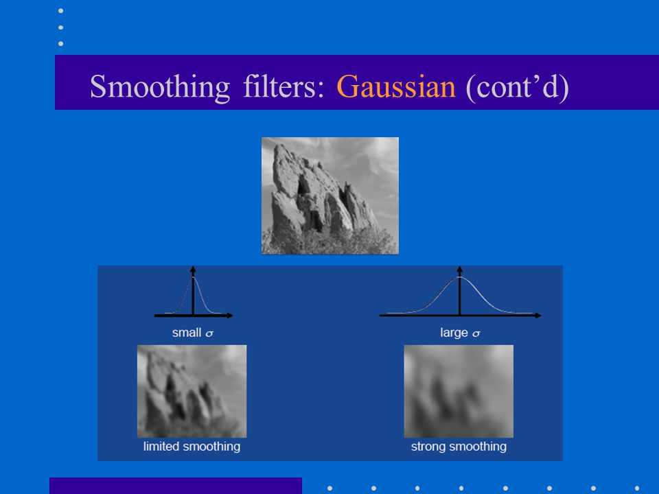 Smoothing filters: Gaussian (cont'd)