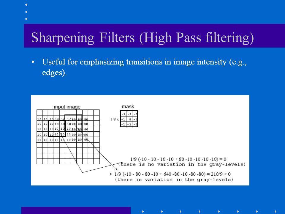Sharpening Filters (High Pass filtering)