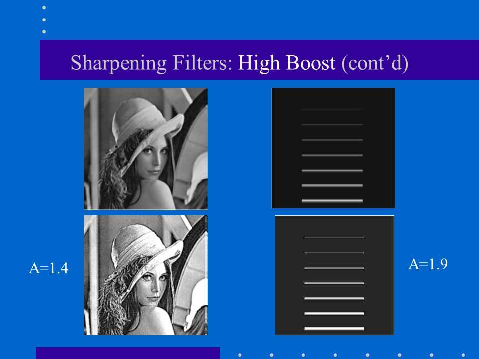 Sharpening Filters: High Boost (cont'd)