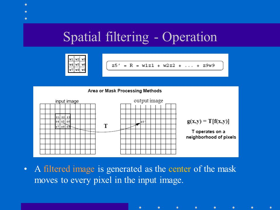 Spatial filtering - Operation