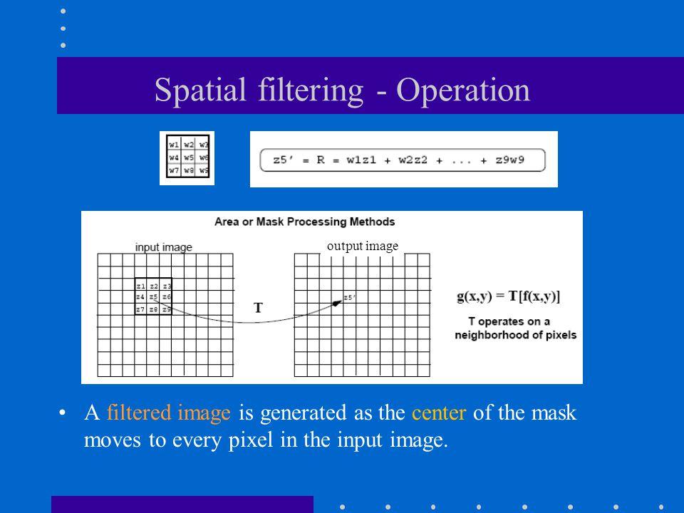 Spatial filtering - Operation