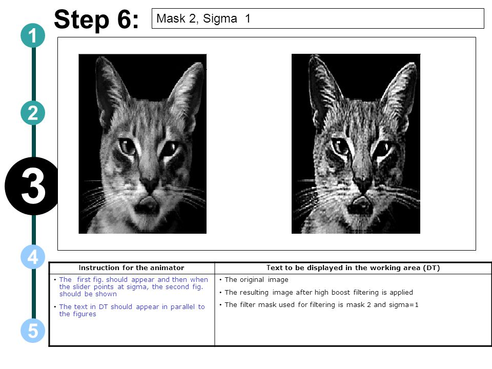 3 Step 6: 1 2 4 5 Mask 2, Sigma 1 Instruction for the animator
