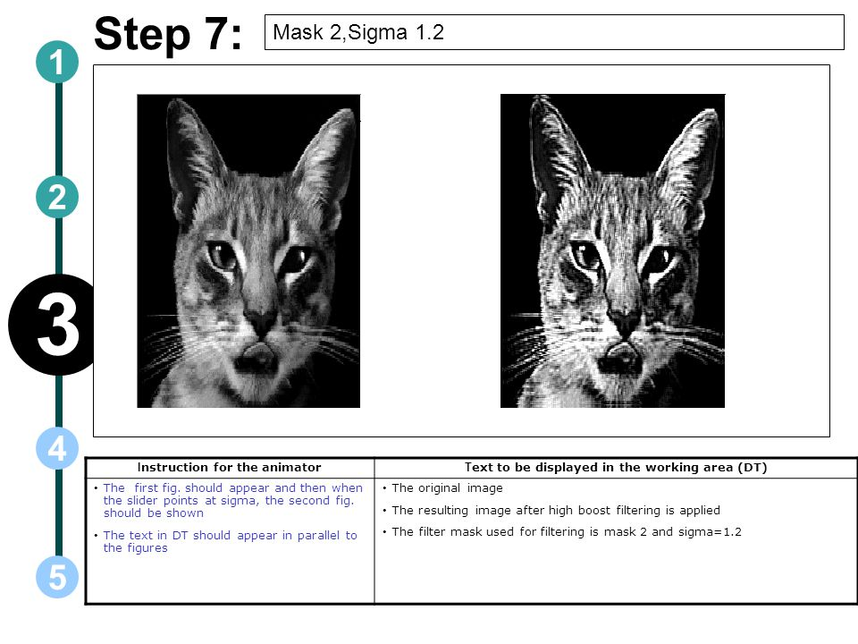 3 Step 7: 1 2 4 5 Mask 2,Sigma 1.2 Instruction for the animator
