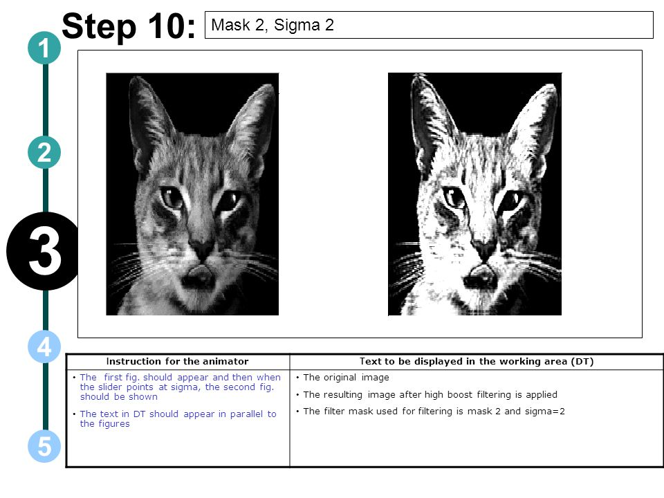 3 Step 10: 1 2 4 5 Mask 2, Sigma 2 Instruction for the animator