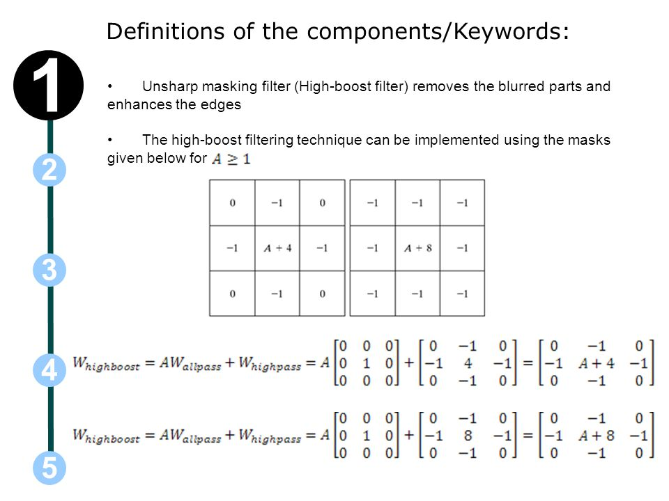 1 2 3 4 5 Definitions of the components/Keywords: