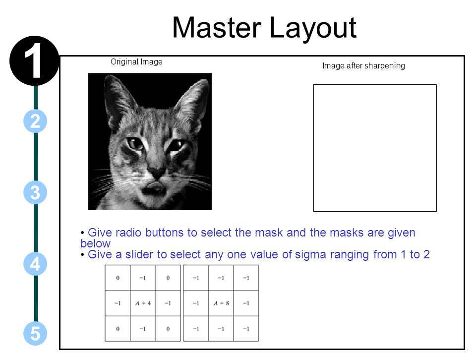 Master Layout 1. Original Image. Image after sharpening. 2. 3. Give radio buttons to select the mask and the masks are given below.