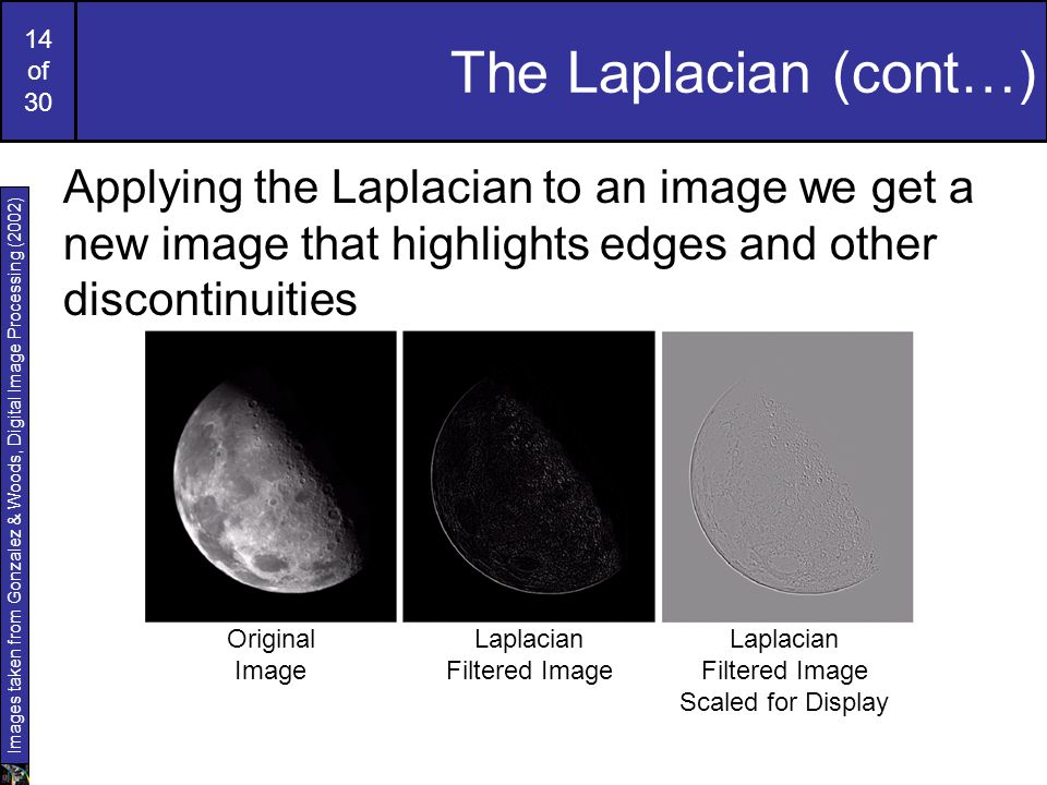 The Laplacian (cont…) Applying the Laplacian to an image we get a new image that highlights edges and other discontinuities.