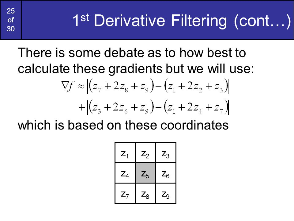 1st Derivative Filtering (cont…)