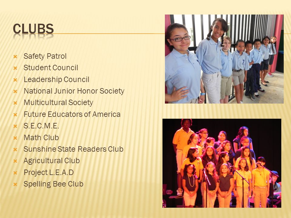 Clubs Safety Patrol Student Council Leadership Council