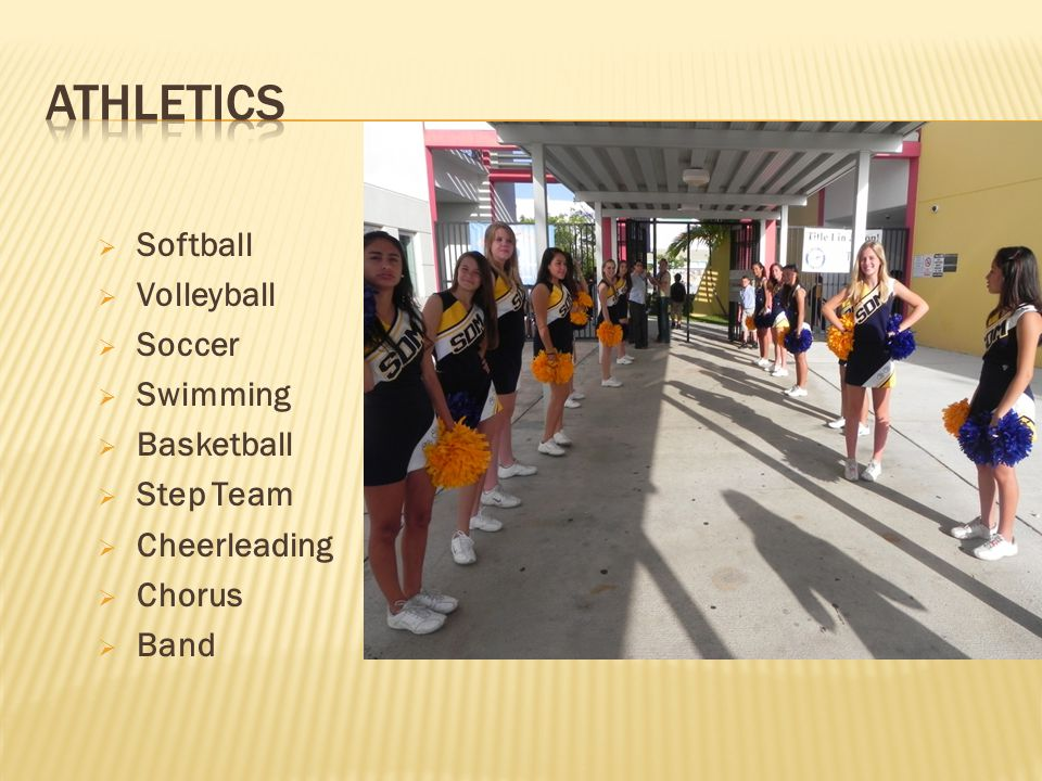 Athletics Softball Volleyball Soccer Swimming Basketball Step Team