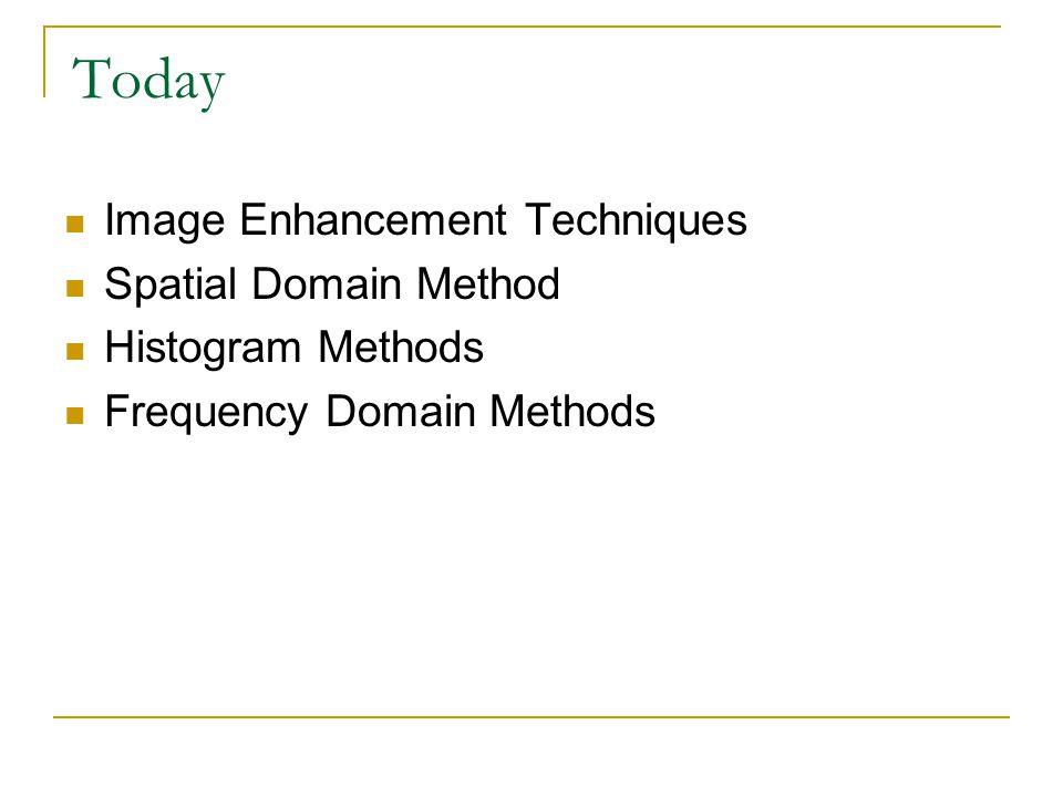 Today Image Enhancement Techniques Spatial Domain Method