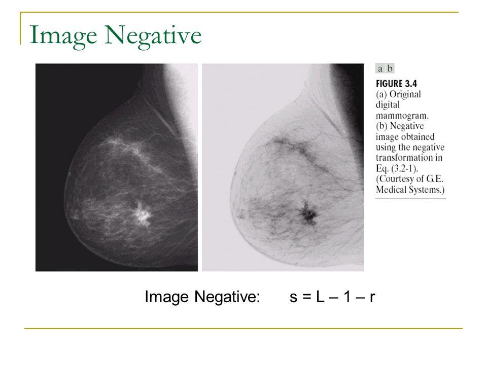 Image Negative: s = L – 1 – r