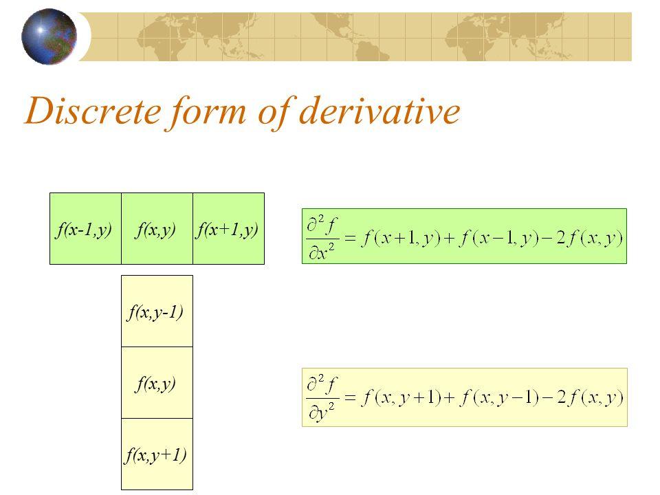 Discrete form of derivative