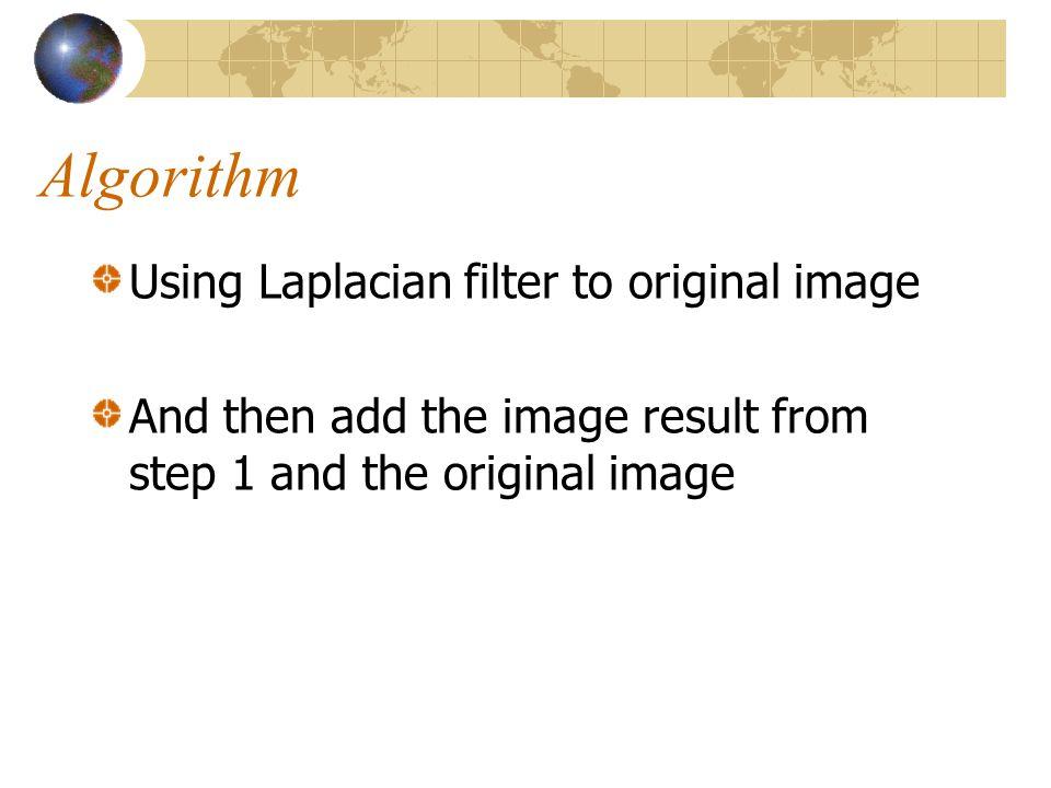 Algorithm Using Laplacian filter to original image