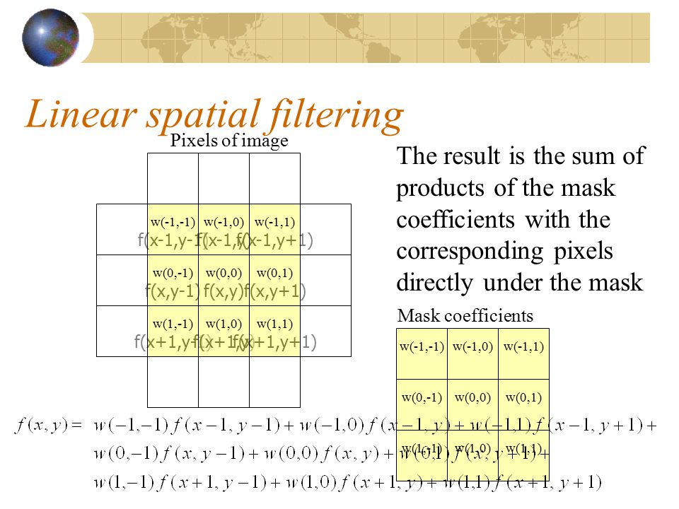 Linear spatial filtering