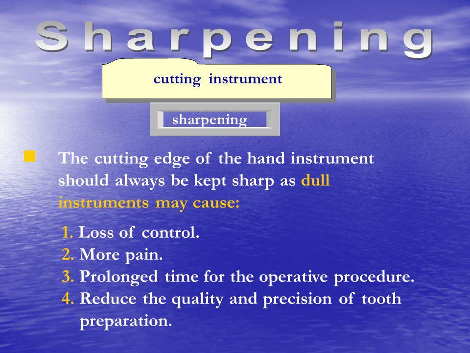 Sharpening cutting instrument. sharpening. The cutting edge of the hand instrument should always be kept sharp as dull.