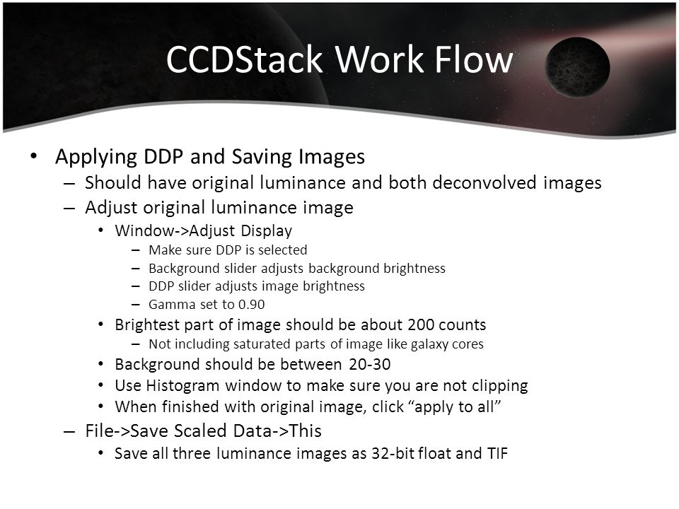 CCDStack Work Flow Applying DDP and Saving Images