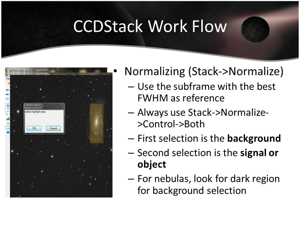 CCDStack Work Flow Normalizing (Stack->Normalize)