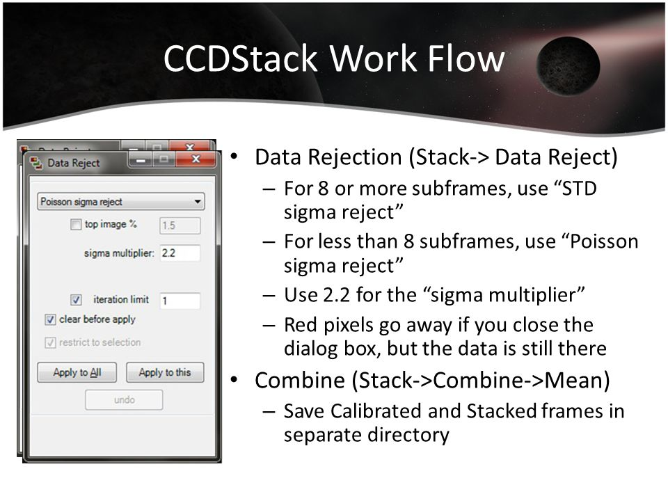 CCDStack Work Flow Data Rejection (Stack-> Data Reject)