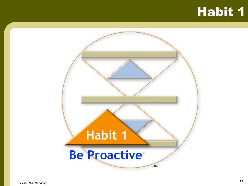 Habit 1 Habit 1 Be Proactive® © 2004 FranklinCovey