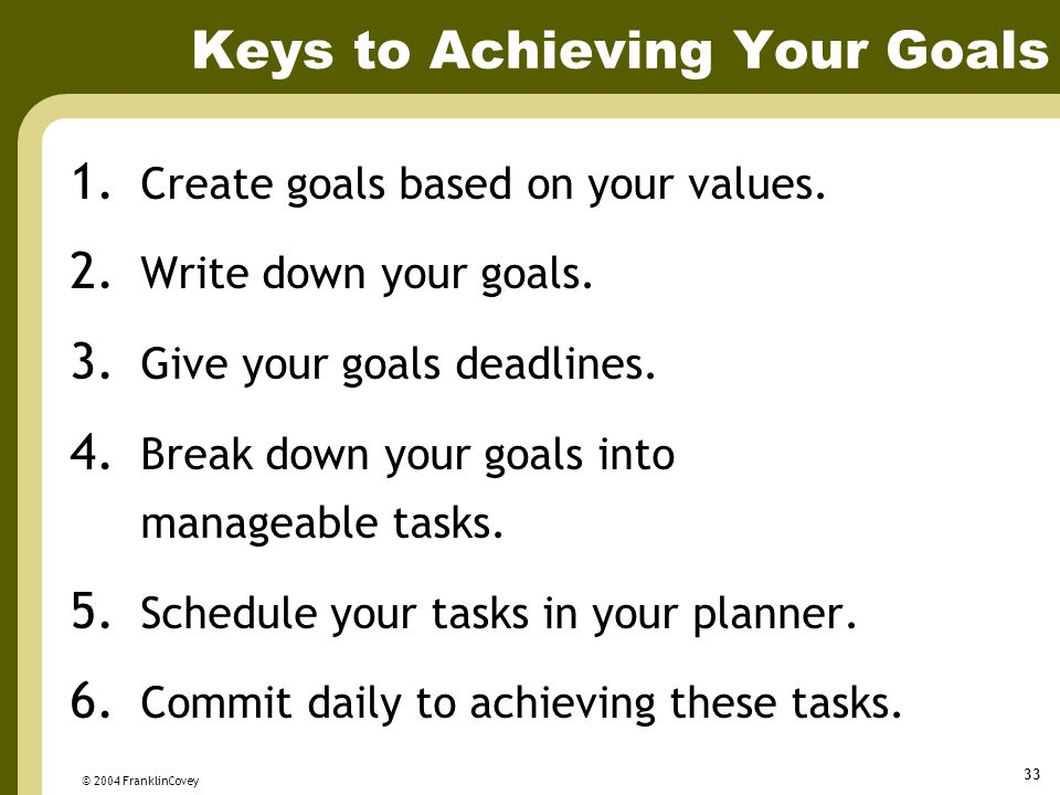 Keys to Achieving Your Goals