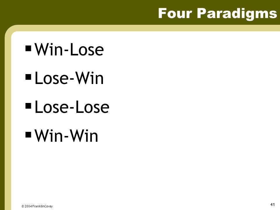 Win-Lose Lose-Win Lose-Lose Win-Win Four Paradigms