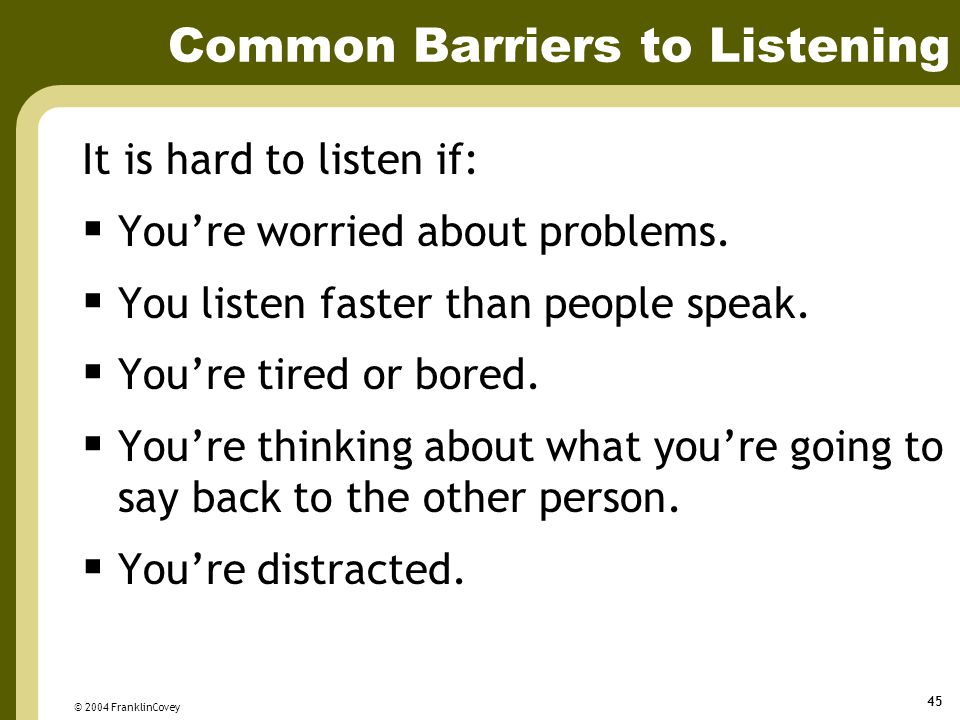 Common Barriers to Listening