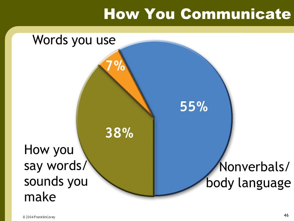 How You Communicate Words you use How you say words/ sounds you make