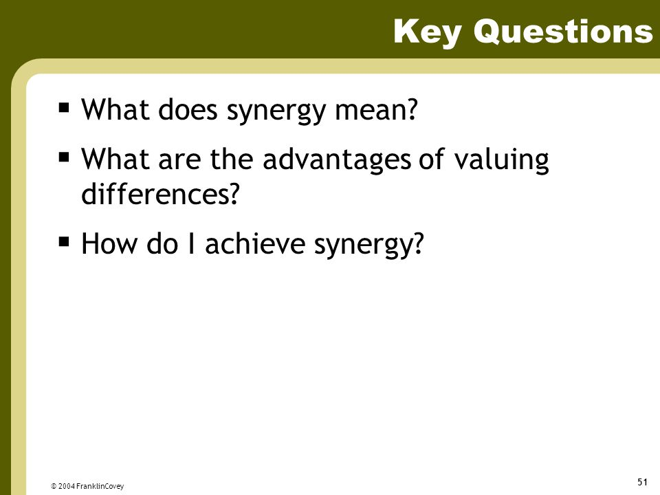 Key Questions What does synergy mean