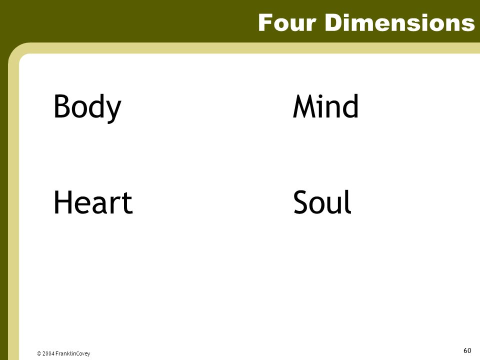 Four Dimensions Body Mind Heart Soul © 2004 FranklinCovey