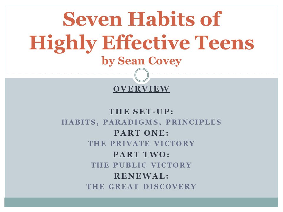 7 habits of highly effective teens Help teens apply personal leadership principles to the tough choices they face every day.