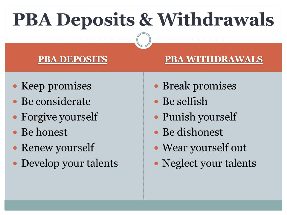 PBA Deposits & Withdrawals