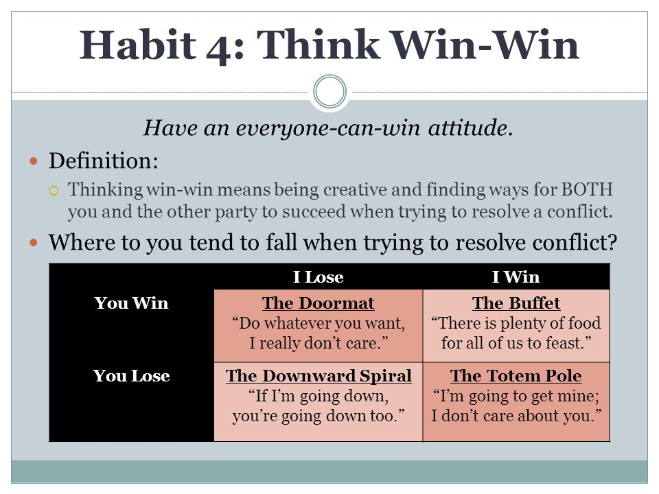 Habit 4: Think Win-Win Have an everyone-can-win attitude. Definition:
