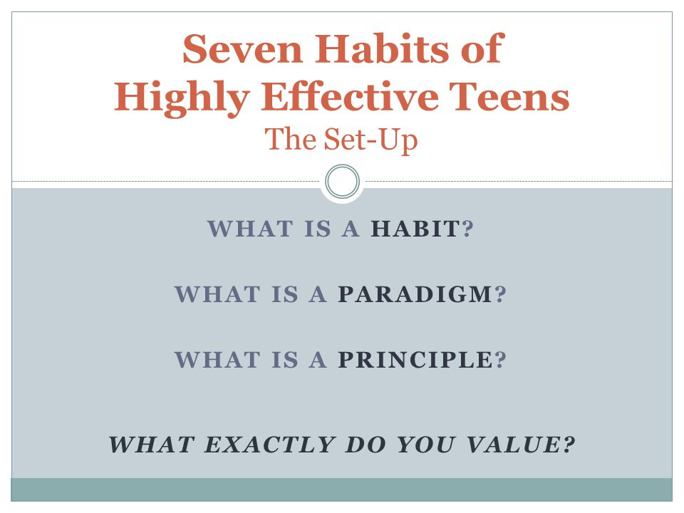 Seven Habits of Highly Effective Teens The Set-Up